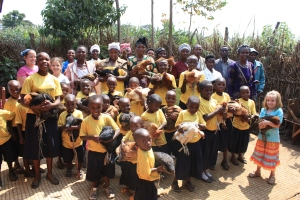 sponsored children getting gifts